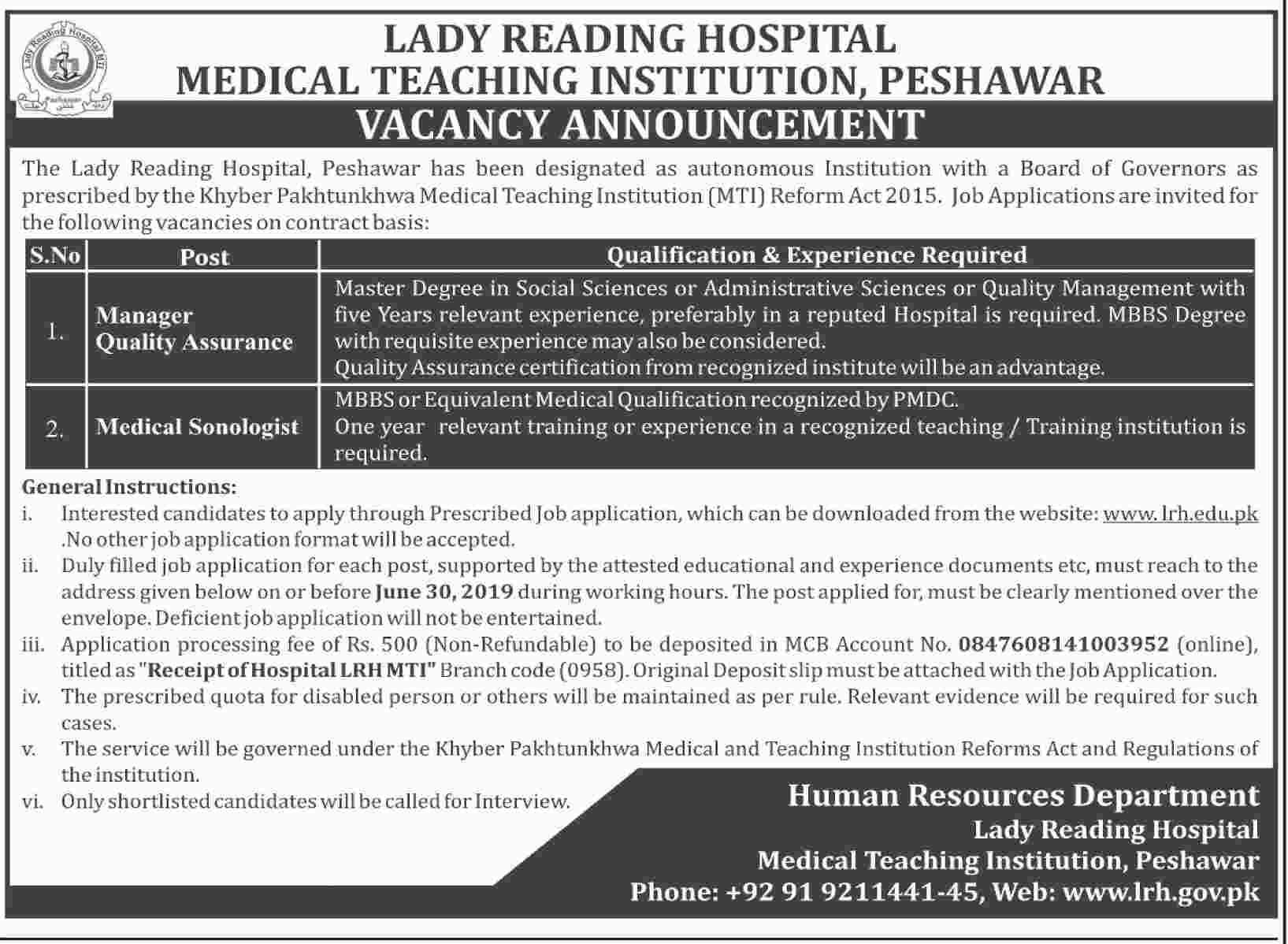 Jobs in Lady Reading Hospital Peshawar June 2019