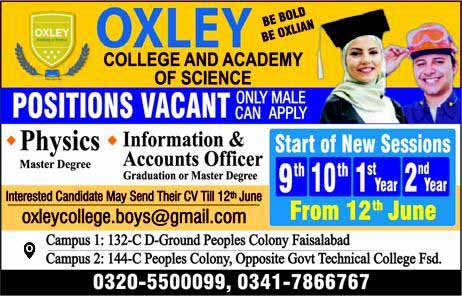 Jobs in Oxley College & Academy of Science