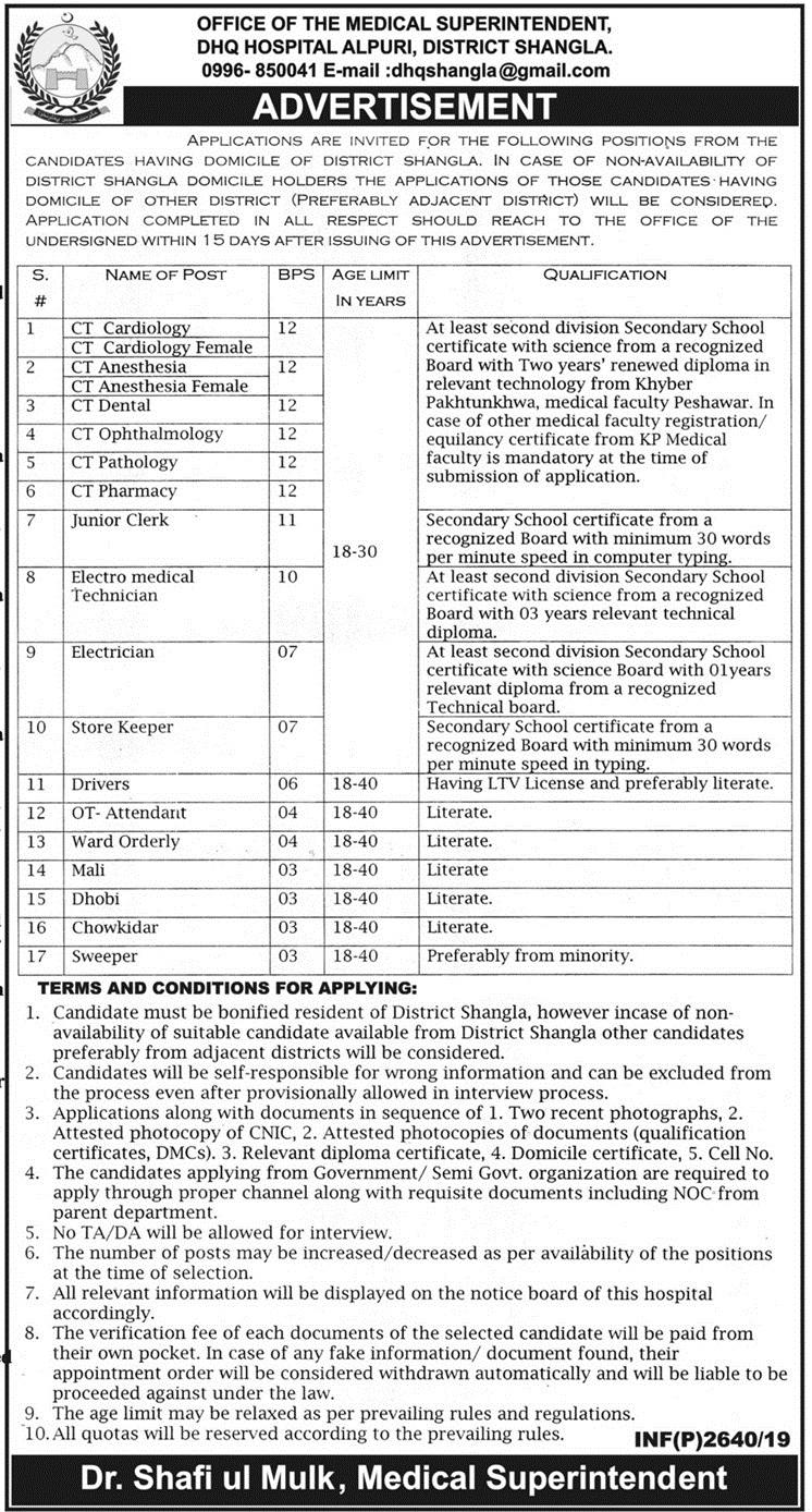 Latest Jobs In District Headquarters Hospital Shangla 2019