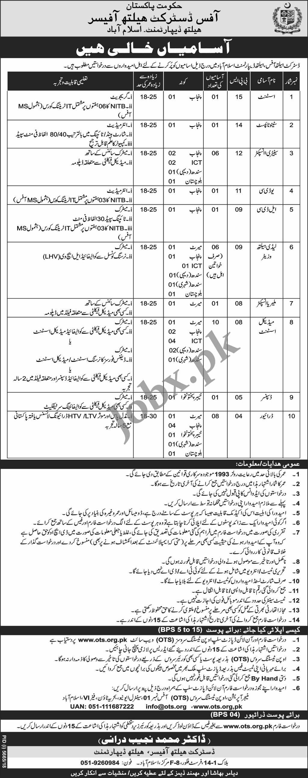 Office District Health Office Islamabad OTS Jobs