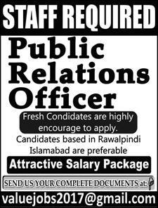 Public Relations Officer Required in Islamabad 13 June 2019