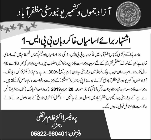 Jobs in The University of Azad Jammu And Kashmir for Sweepers