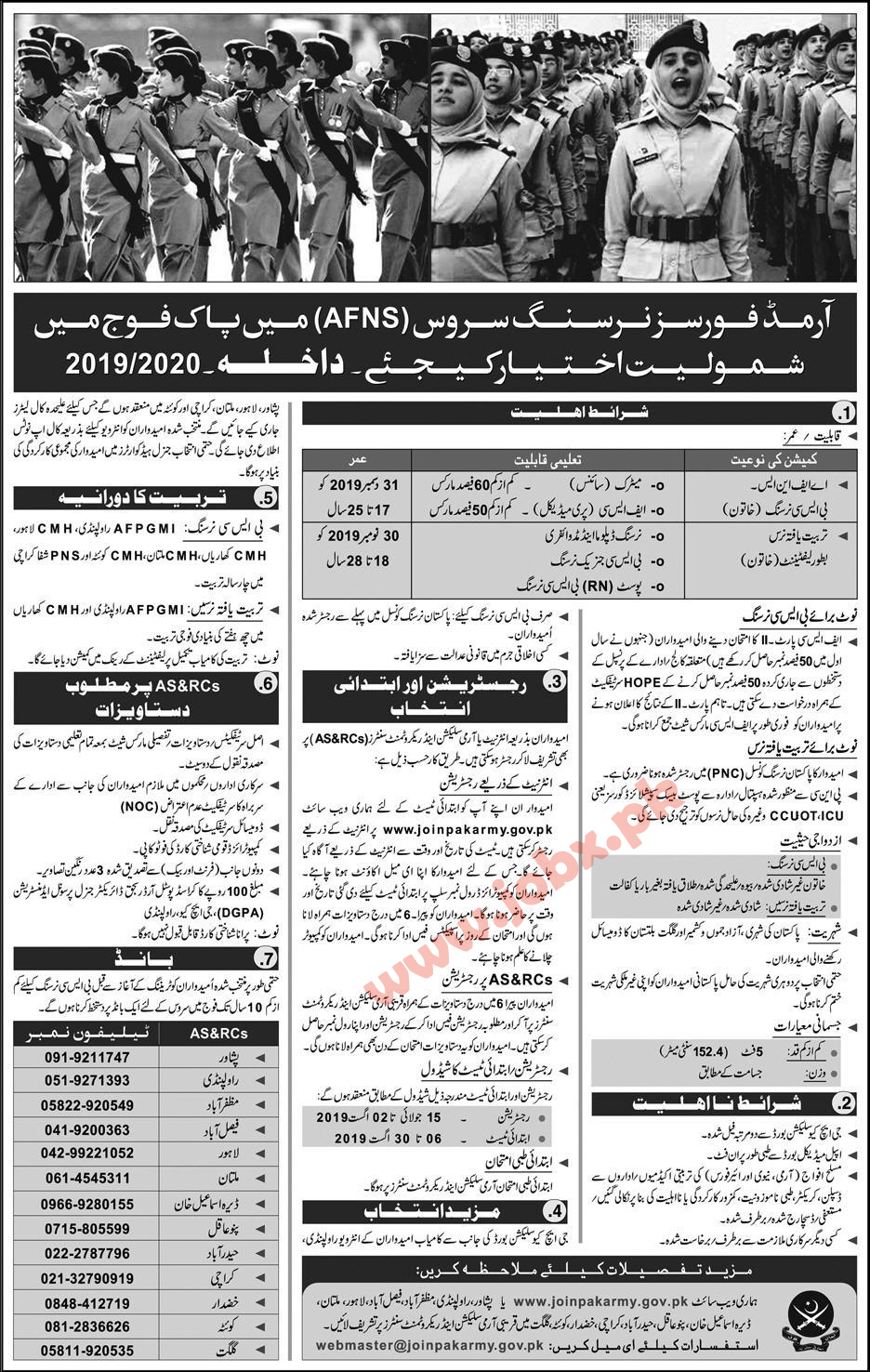 AFNS Nursing Services Jobs in Pakistan Army for Females 14 July 2019
