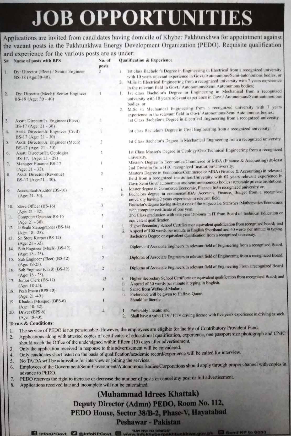FTS Jobs inPakhtunkhwa Energy Development Organization (Regular Posts)