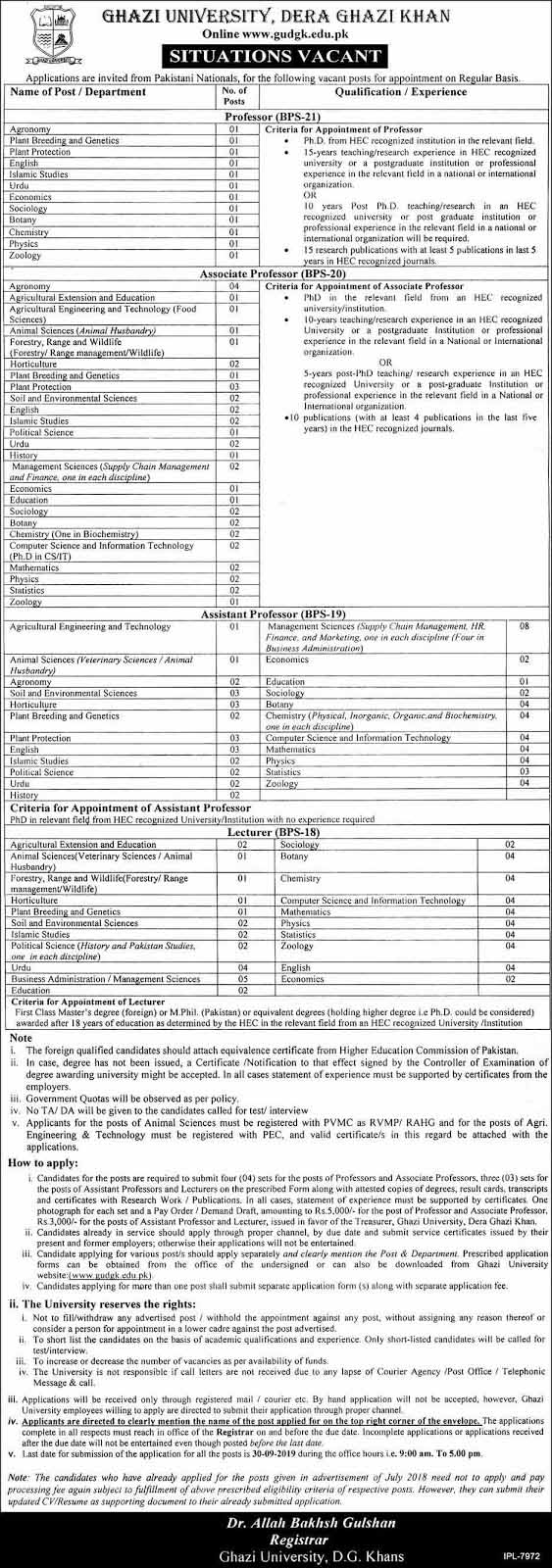 Jobs in Ghazi University