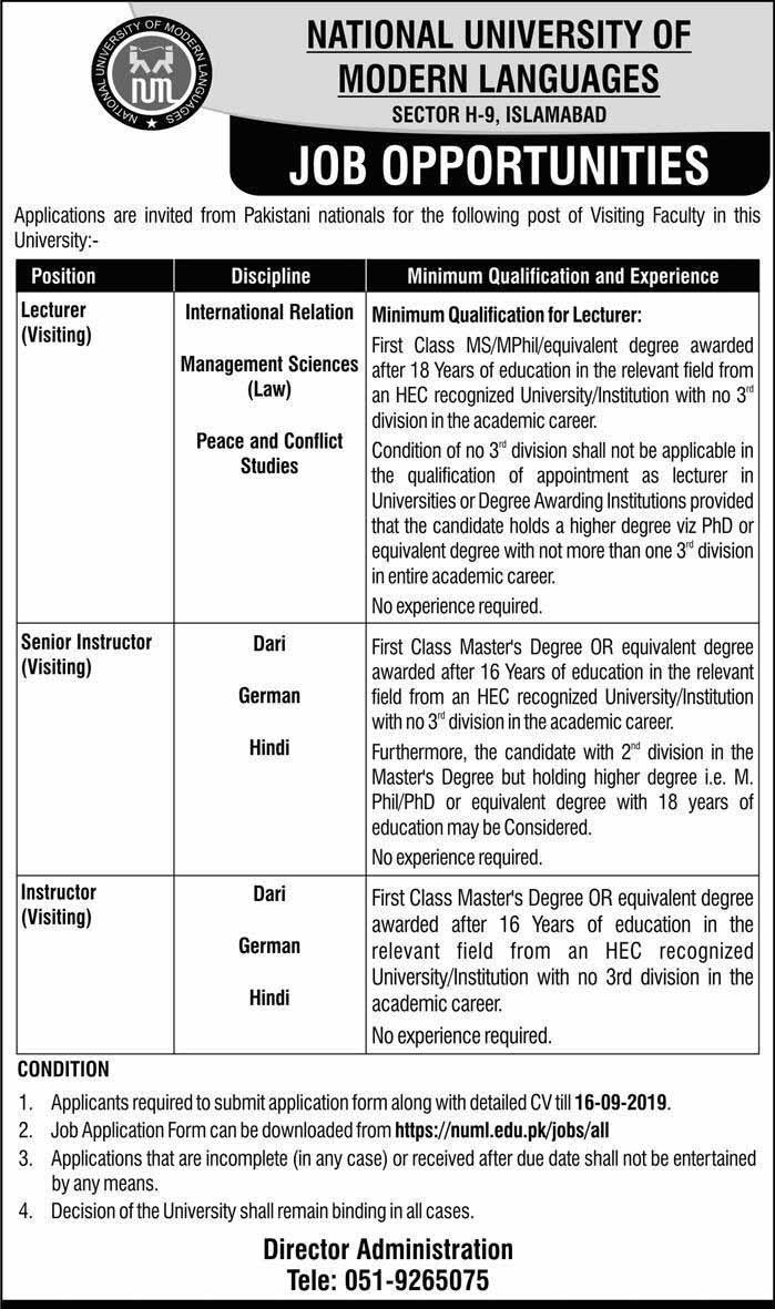 Latest NUML University Islamabad Jobs Opportunities Sep 2019