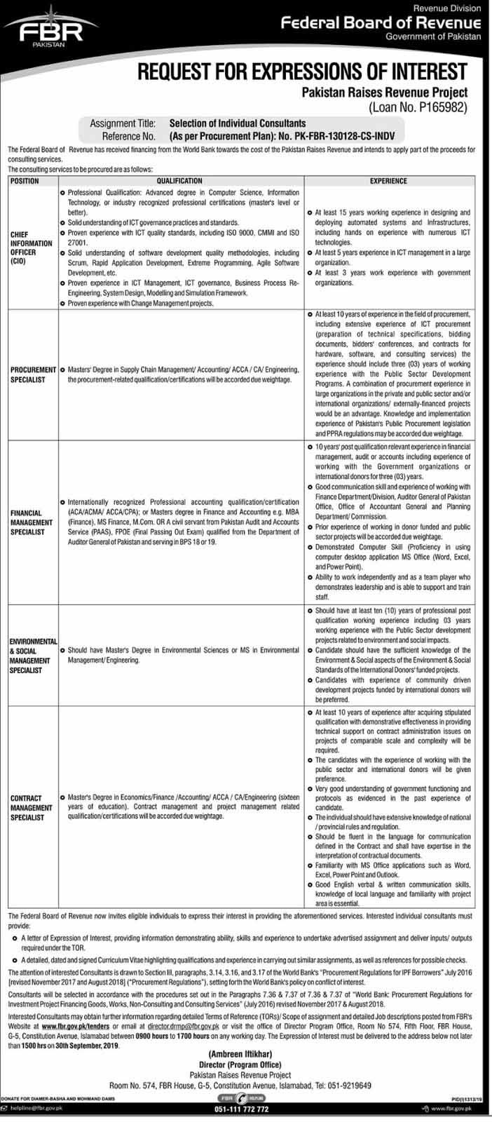 Latest Vacancies of FBR , Federal Board of Revenue Govt of Pakistan