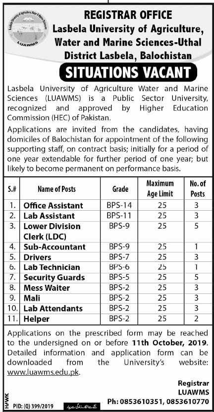 Vacancies in Lasbela University of Agriculture, Water & Marine Sciences Jobs 2019