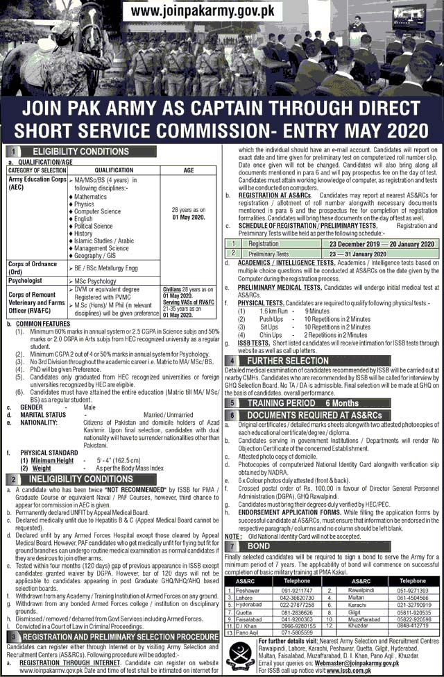 Join Pakistan Army through Direct Service Commission