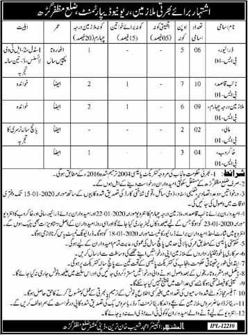 Revenue Department District Muzaffargarh Jobs 2020