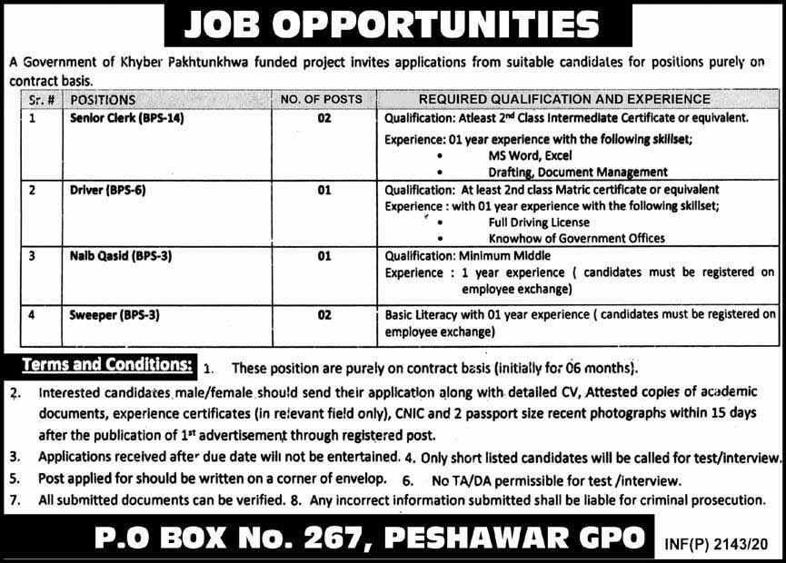 Govt Of Khyber Pakhtunkhwa Funded Project Jobs