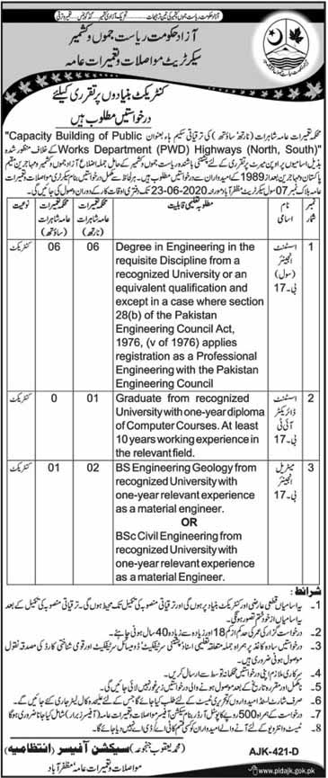 Jobs in AJK in Communication and Works