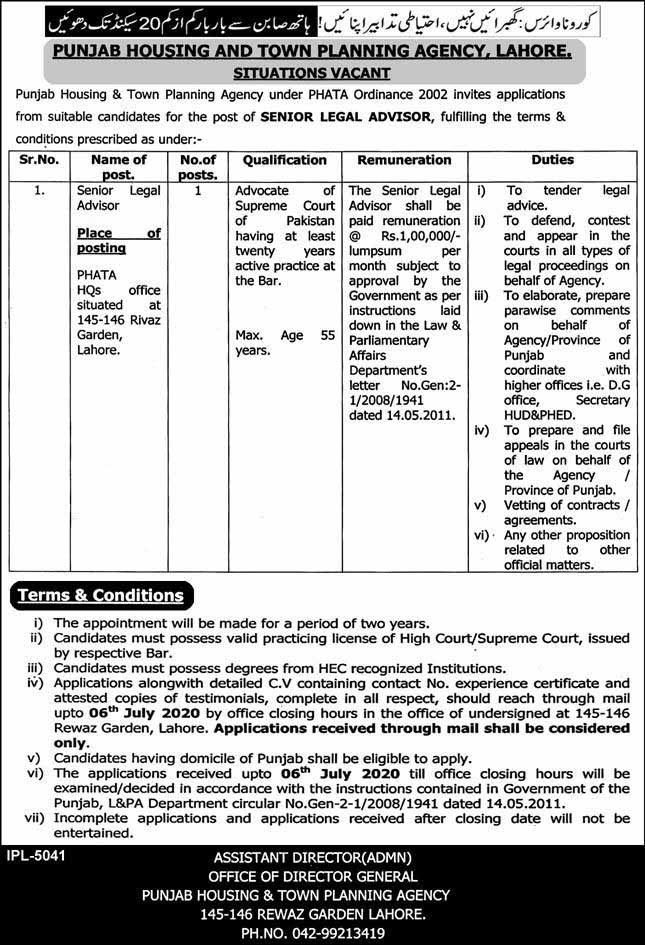 Jobs in Punjab Housing And Town Planning Agency 17 June 2020