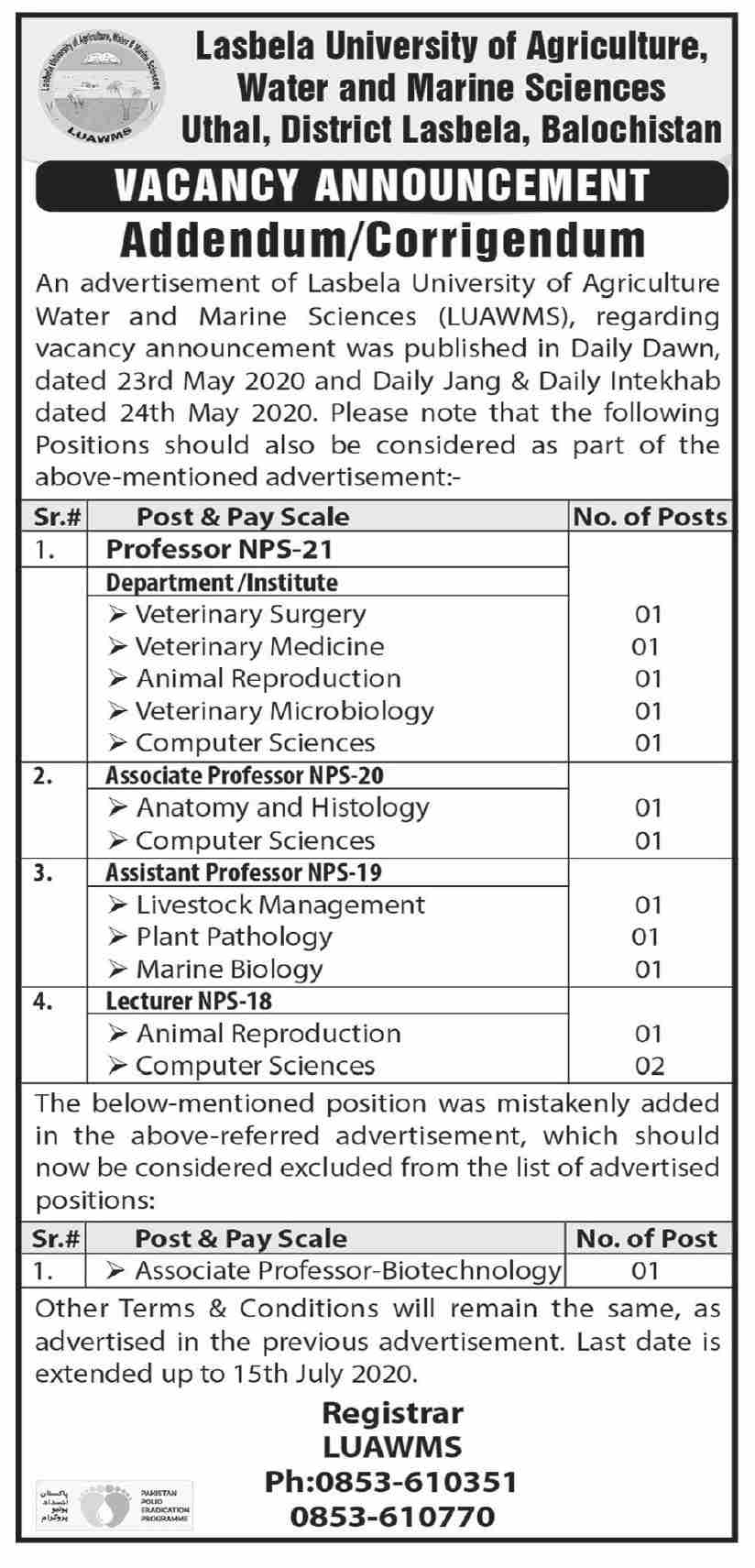 Lasbela University of Agriculture Jobs