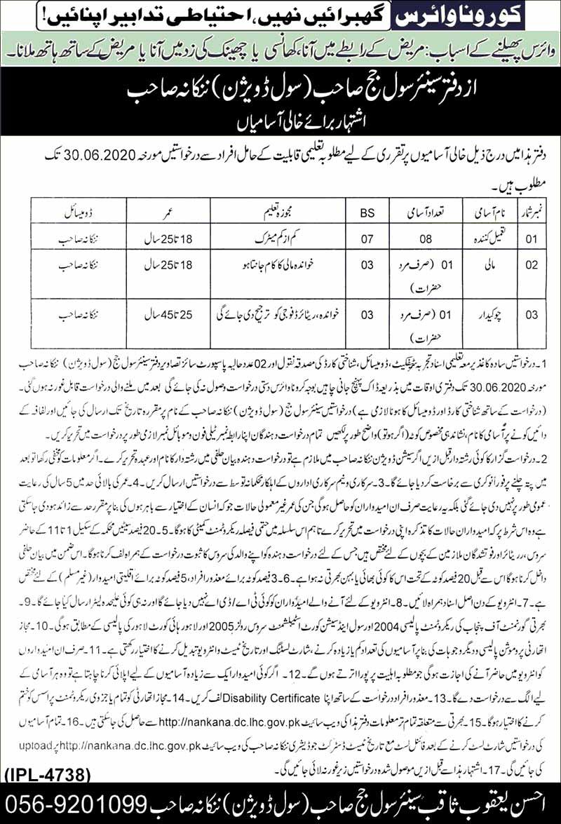 Nankana Sahib Jobs June 2020