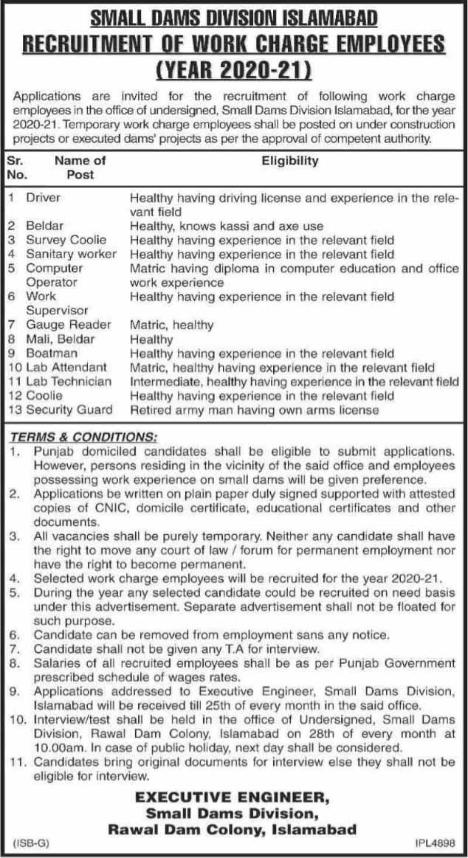 Small Dams Division Islamabad Jobs 2020