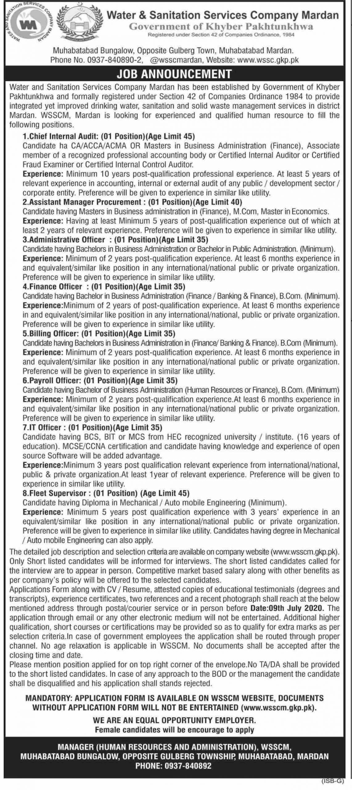 Jobs in Water and Sanitation Services Mingora 2020