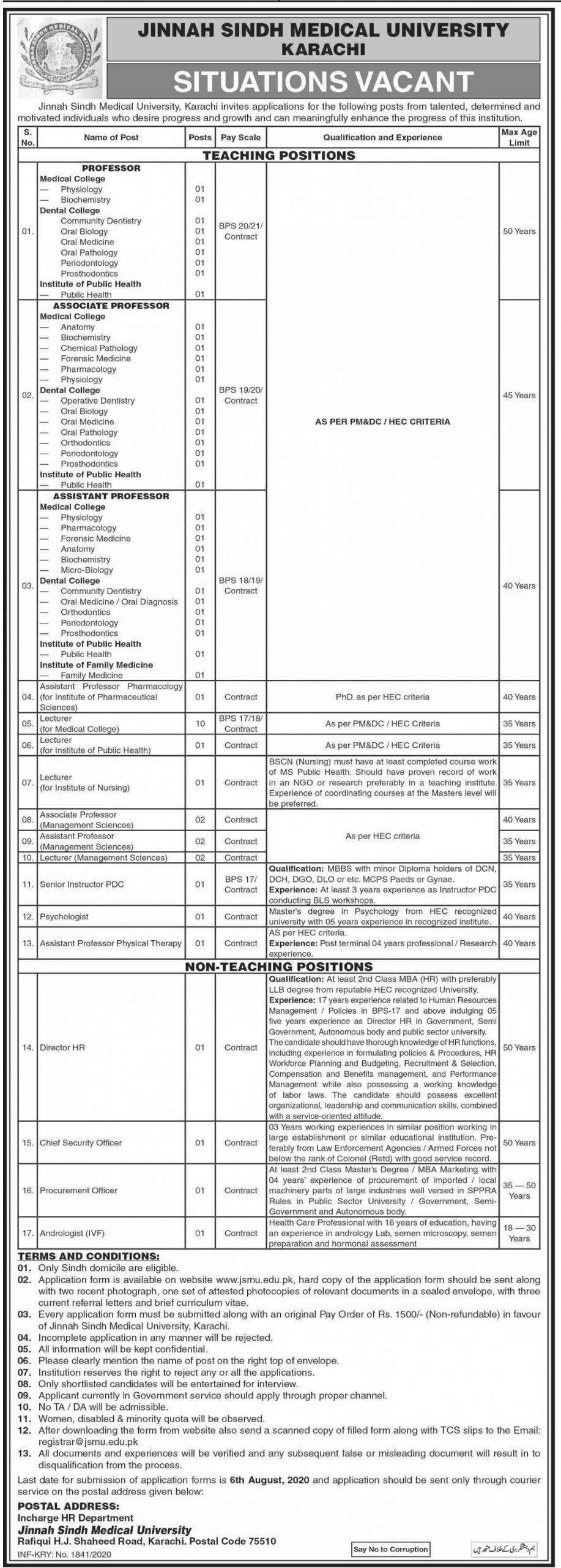 60+ Jobs in Jinnah Sindh Medical University 2020