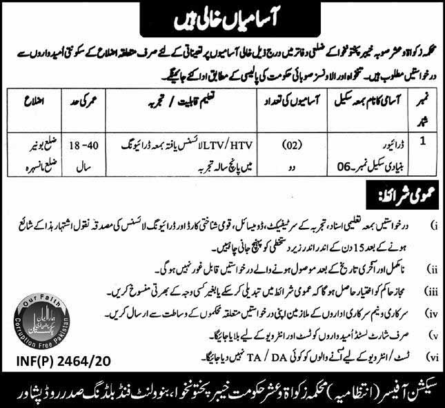District Zakat And Ushar Committee July 2020 Jobs