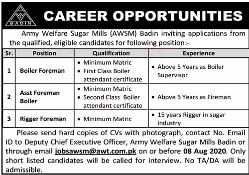 Jobs in Army Welfare Sugar Mills 2020