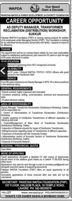 Jobs in Pakistan Water And Power Development Authority