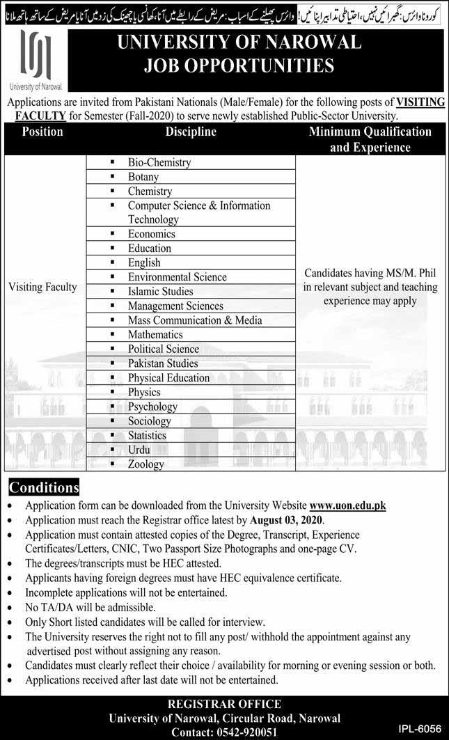 Jobs in University of Narowal 2020