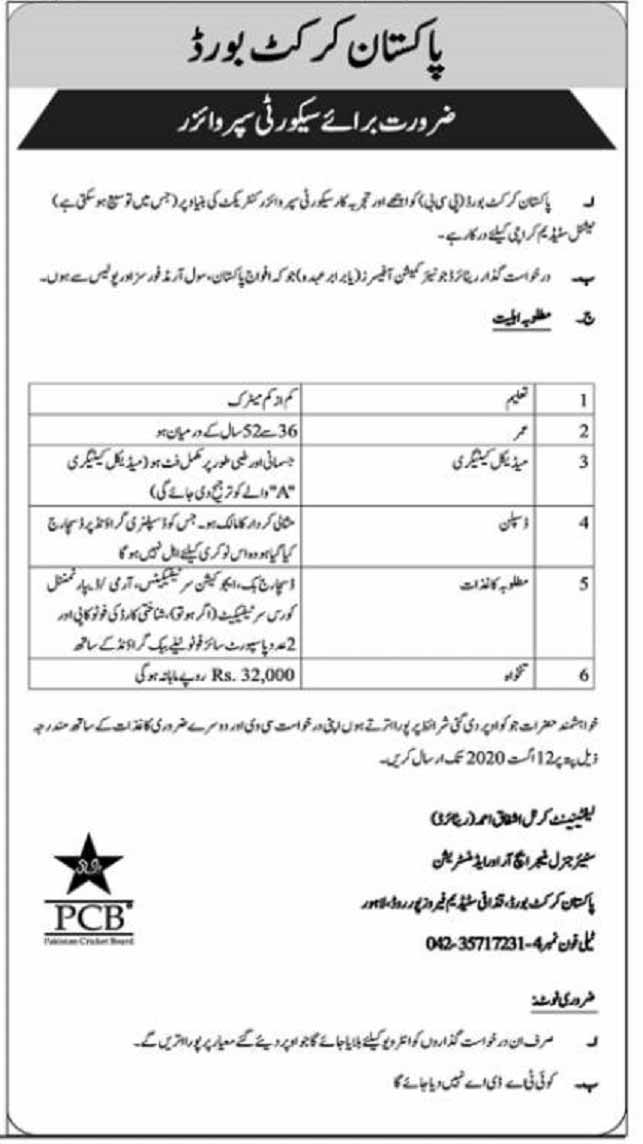 Pakistan Cricket Board PCB Jobs 2020