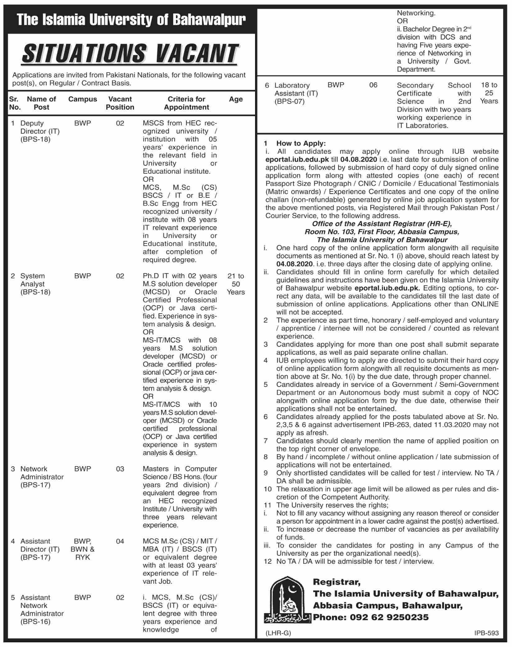 The Islamia University of Bahawalpur IUB Jobs July 2020
