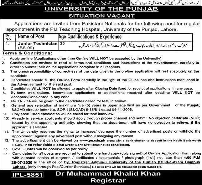 University Of The Punjab Jobs for Junior Technician