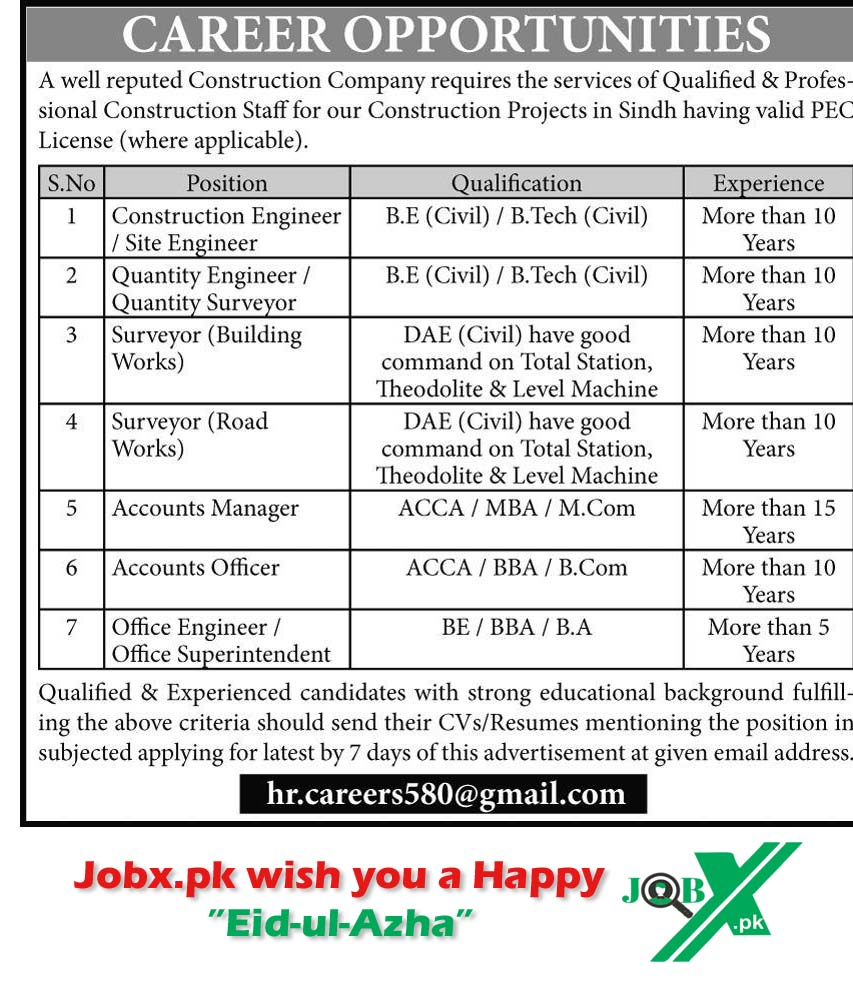 Jobs in a Construction Company 01 August 2020