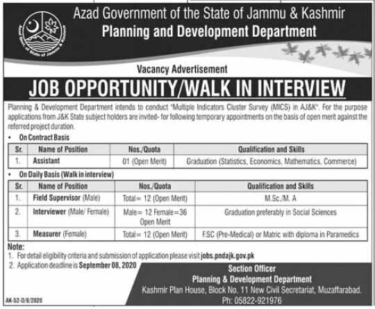 AJK Jobs in Planning & Development Department 2020