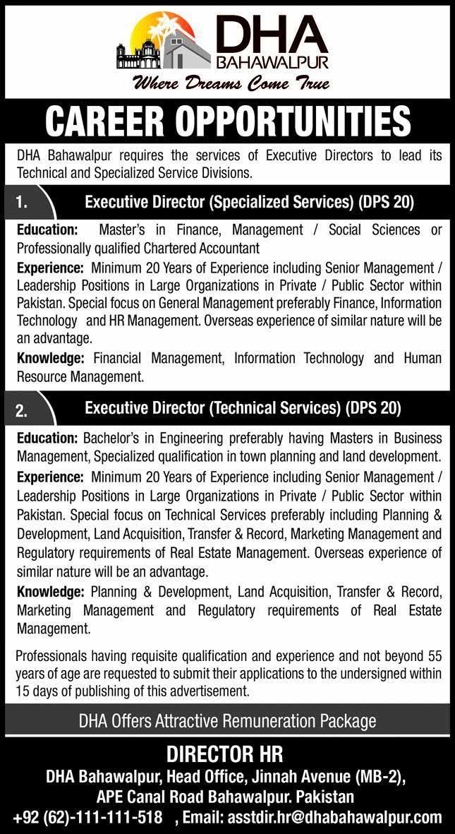 DHA Bahawalpur Jobs 01 August 2020
