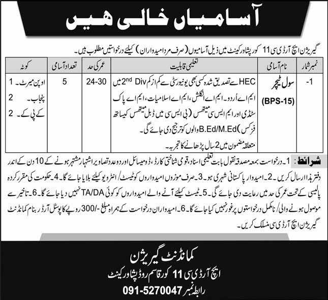Garrison HRDC 11 Core Pak Army Jobs 2020