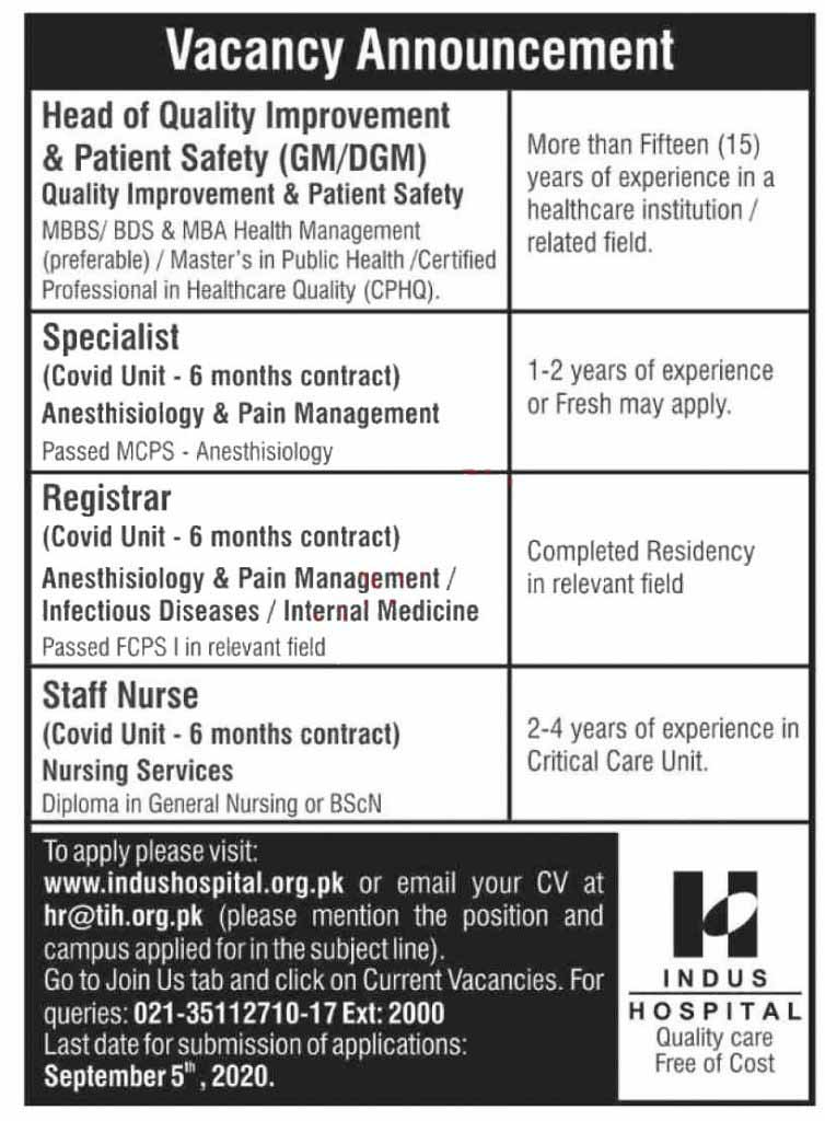 Jobs in Indus Hospital August 2020