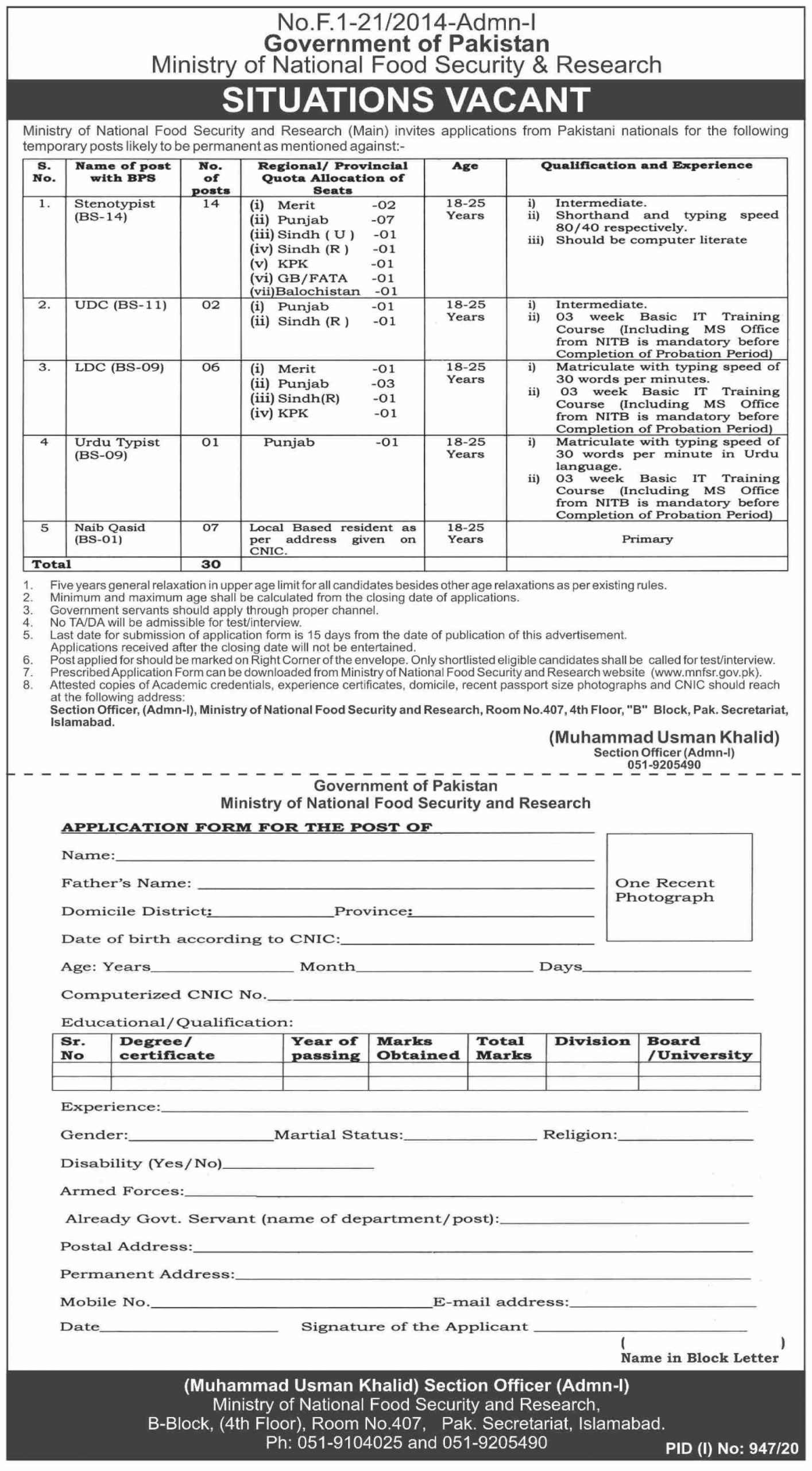 Jobs in Ministry of National Food Security & Research 2020