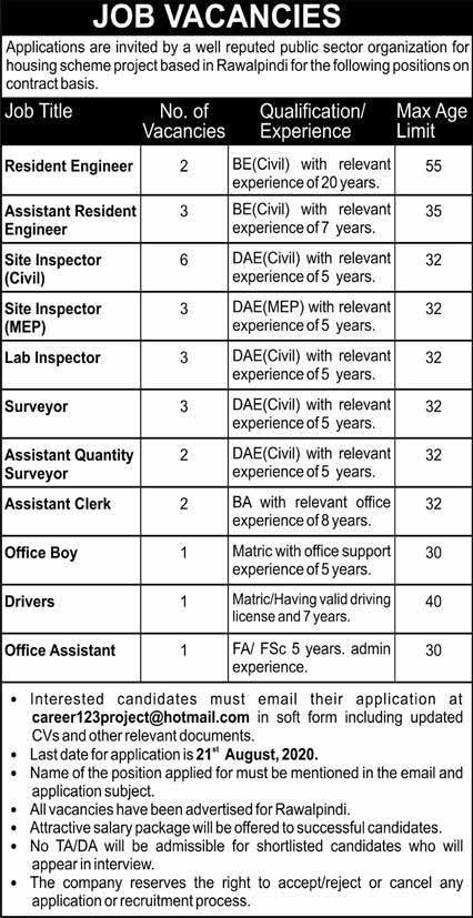 Jobs in a Public Sector Organization in Rawalpindi 2020