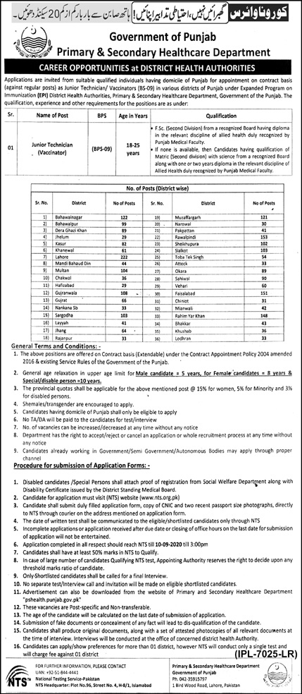 Junior Technician Jobs in District Health Authority Punjab Aug 2020