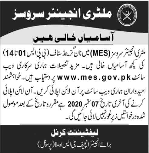 Multiple Jobs in Military Engineer Services MES Aug 2020