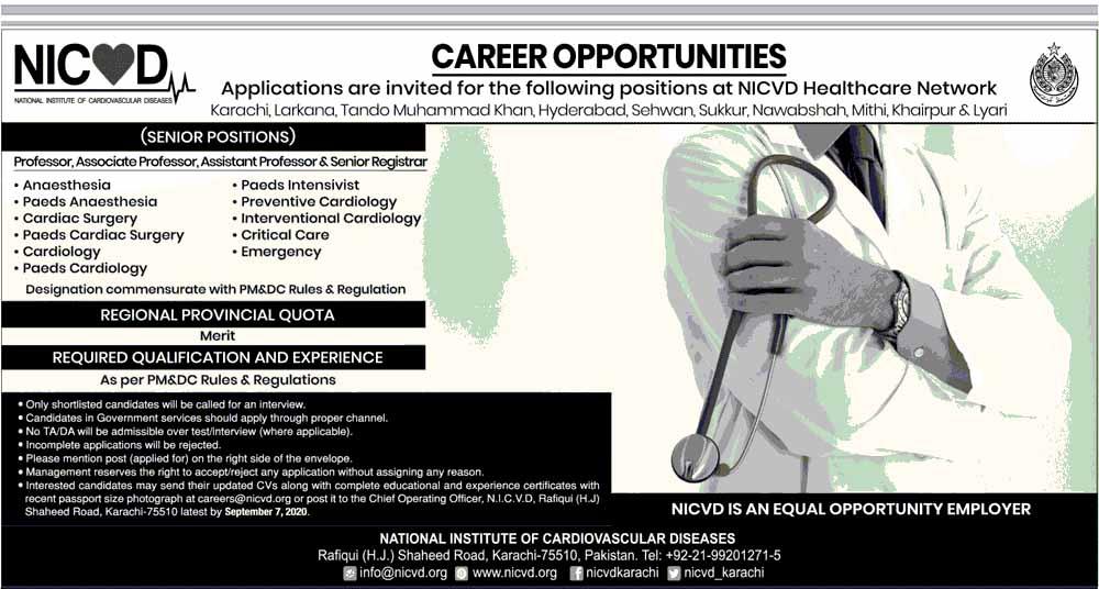 NICVD Jobs in Sindh August 2020