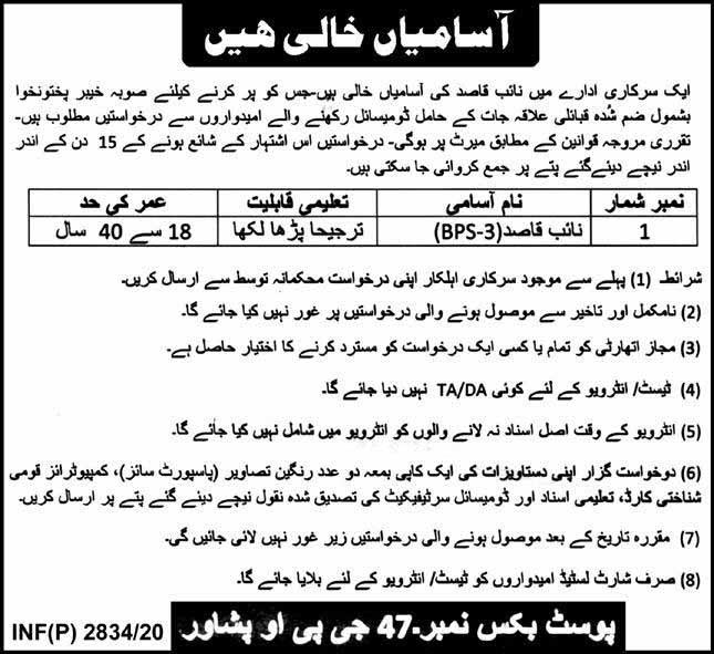 Naib Qasid Govt Jobs in Peshawar 2020