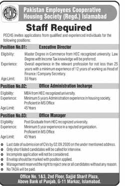 Pakistan employees Cooperative Housing Society Jobs