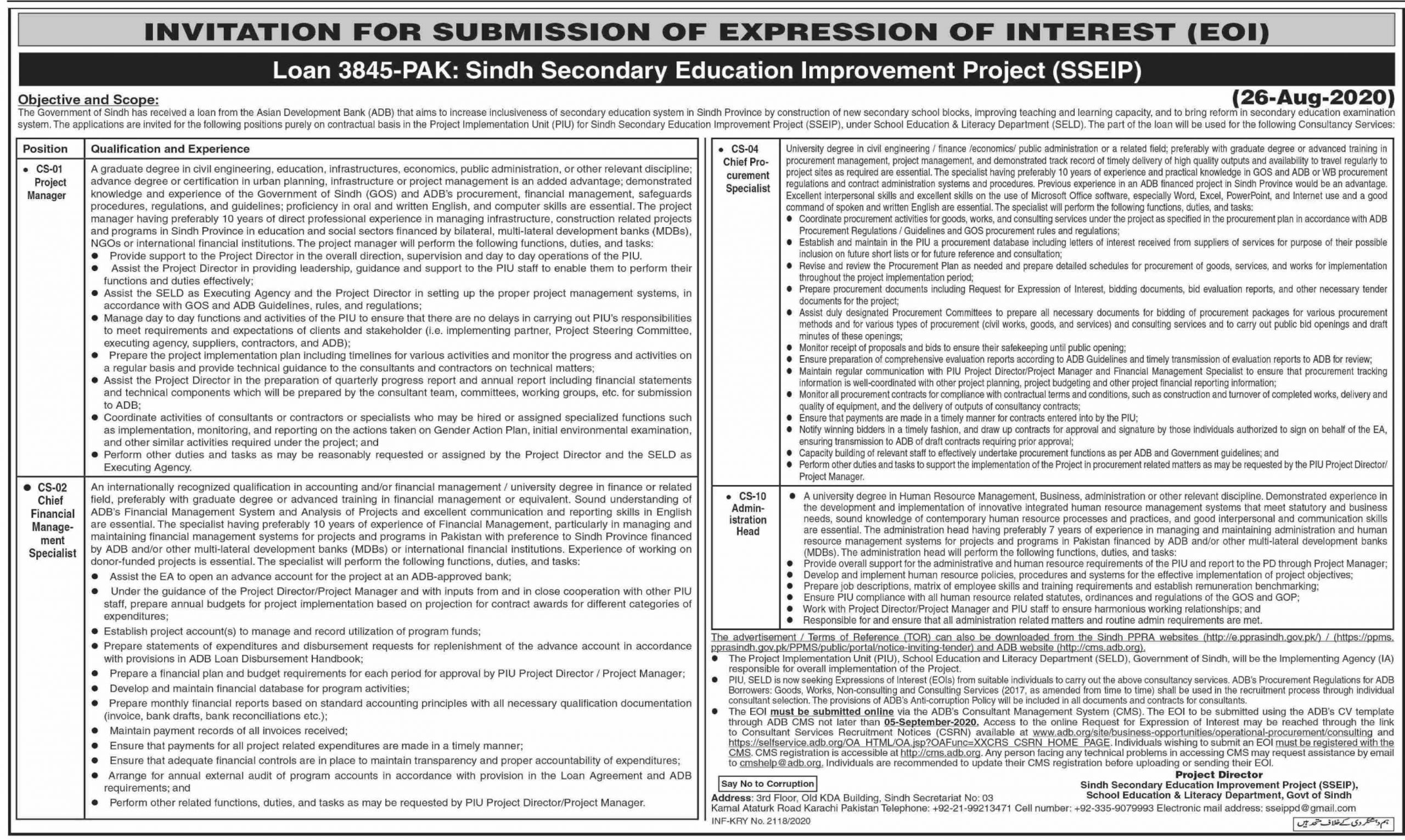 Sindh Secondary Education Improvement Project SSEIP Jobs