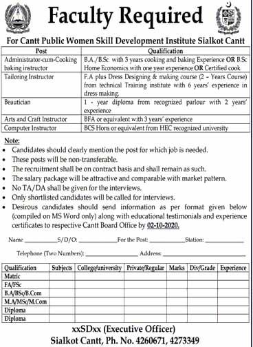 Cantt Public Women Skill Development Institute Jobs in Sialkot 2020