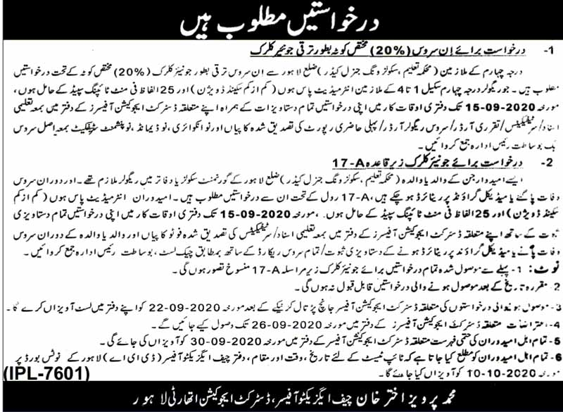 District Education Authority Jobs in Lahore Sept 2020