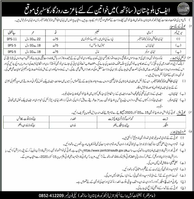 Frontier Corps FC Balochistan South Jobs October 2020
