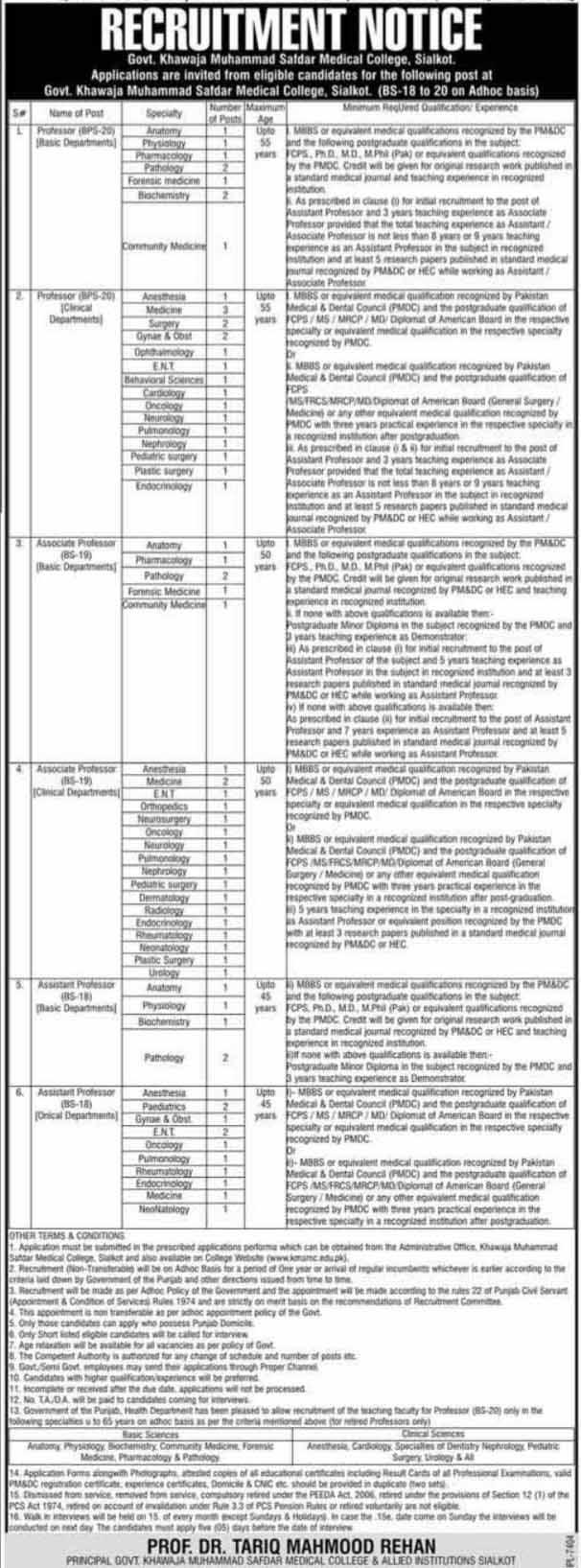 Govt Khawaja Muhammad Safdar Medical College Jobs Sept 2020