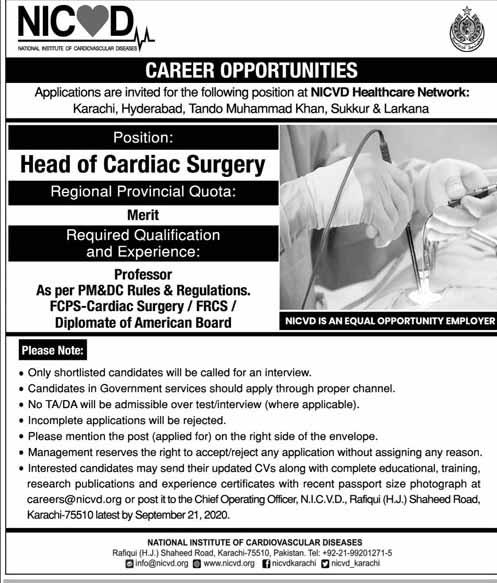 Head Of Cardiac Surgery