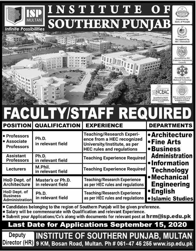 Jobs in Institute of Southern Punjab ISP Sept 2020