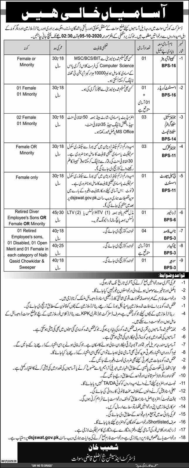 Jobs in Swat in District Court Govt of KPK Sept 2020