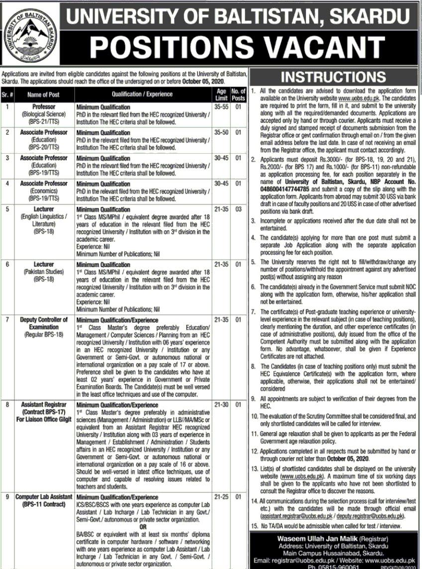 Jobs in University of Baltistan September 2020